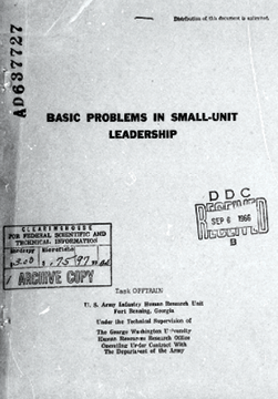Basic Problems in Small-Unit Leadership by T. O. Jacobs