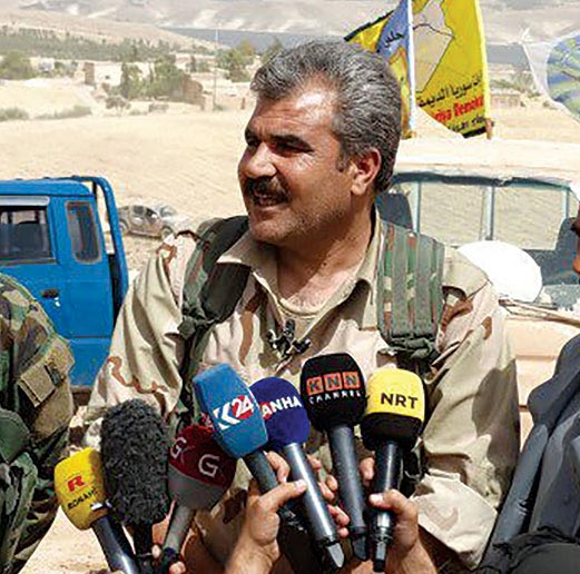 Shervan Derwish, spokesman of the Manbij Military Council, gives a press briefing 4 June 2016 regarding operations to liberate Manbij from Islamic State control.