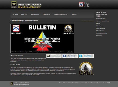 Center for Army Lessons Learned website