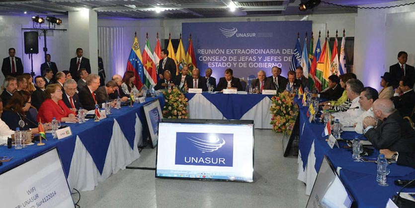 Representatives participate in the Special Meeting of the Council of Heads of State and Government of the Union of South American Nations