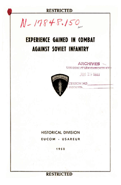 Published in 1950, Experience Gained in Combat Against Soviet Infantry
