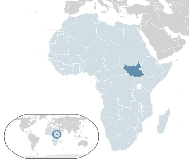 The map depicts the location of the Republic of South Sudan (widely referred to as South Sudan) on the African continent.