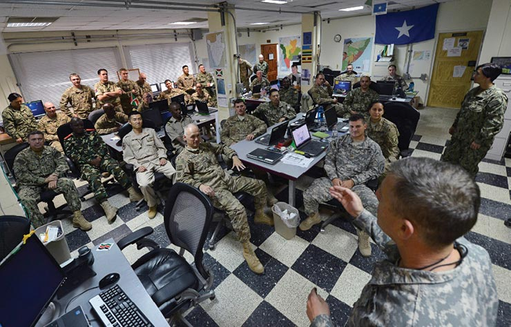 Contingency operations are discussed during a Combined Joint Task Force–Horn of Africa (CJTF–HOA) Fusion Action Cell meeting July 2015.