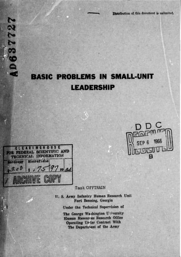 Basic Problems in Small-Unit Leadership