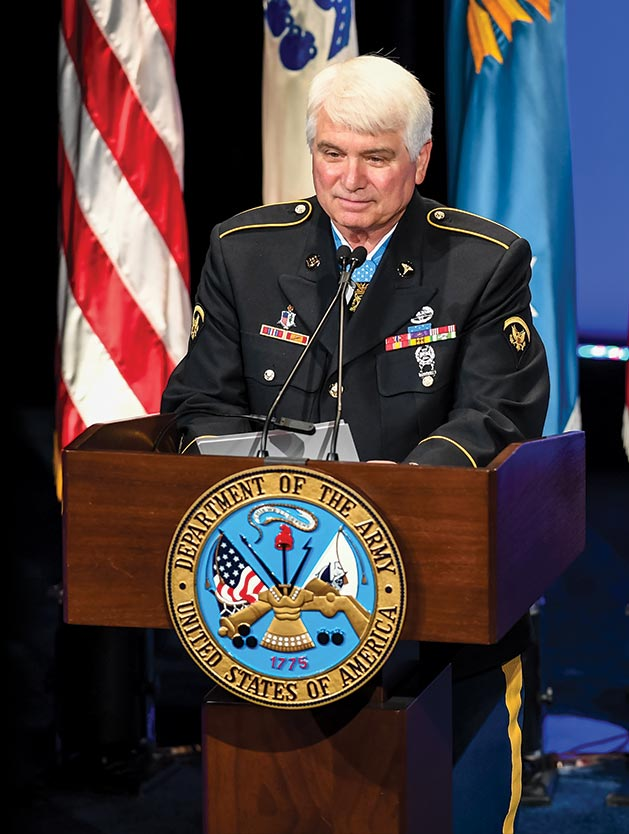 Former Spec. 5 James C. McCloughan gives his remarks 1 August 2017 during the Medal of Honor Hall of Heroes induction ceremony at the Pentagon in Arlington, Virginia.