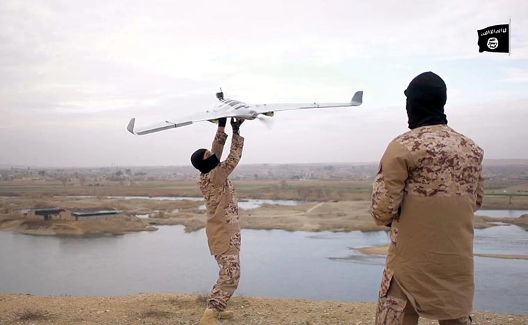 Islamic State (IS) militants used drones