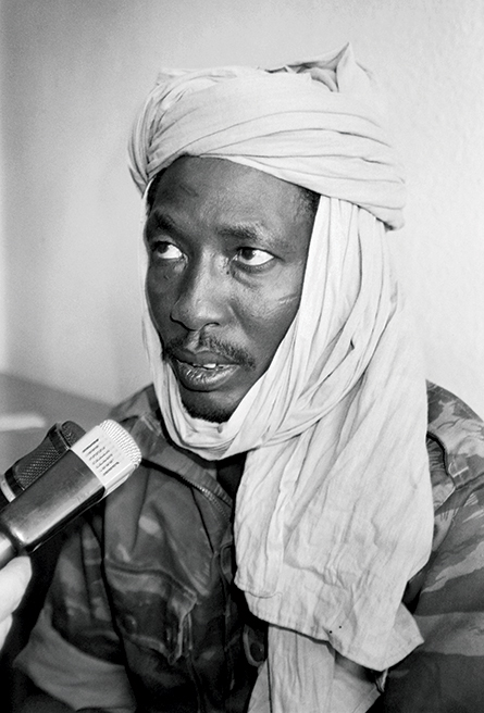 Chadian rebel Idriss Déby, leader of the Chadian Patriotic Salvation Movement, holds a press conference 2 December 1990 after his arrival in N'Djamena, Chad. The insurgent group marched into the capital, and Déby's troops overthrew the Hissène Habré regime. (Photo by Pierre Briand, Agence France-Presse)