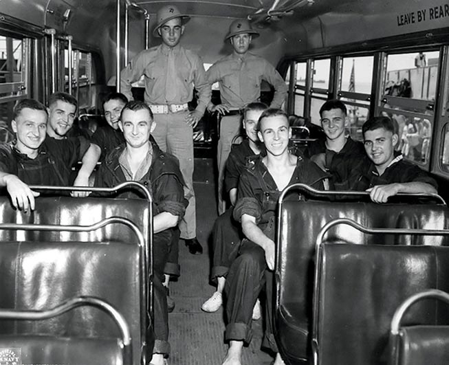Junior members of U-118's crew arrive 20 June 1943 for physical examination and initial POW processing at Naval Operating Base Norfolk Hospital in Norfolk, Virginia.