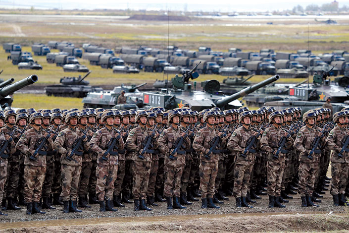 Chinese troops on parade 13 September 2018 during the Vostok 2018 military exercise on Tsugol training ground in Eastern Siberia, Russia. The exercise involved Russian, Chinese, and Mongolian service members.