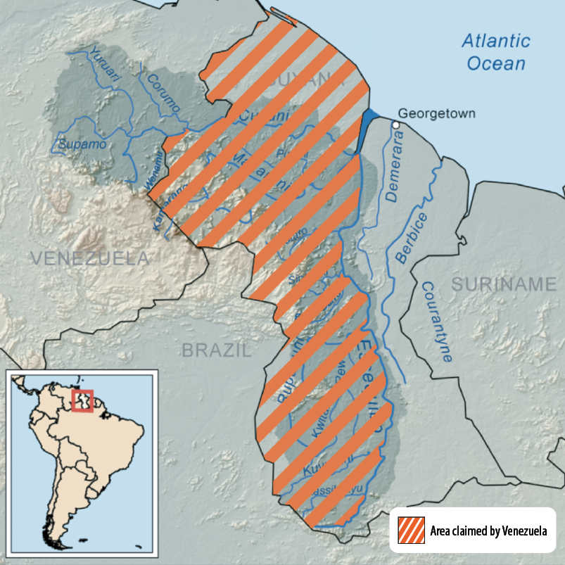 Figure 2. Venezuela-Guyana Border Region and Territory Claimed by Venezuela (Map courtesy of Kmusser and Kordas via Wikimedia Commons)