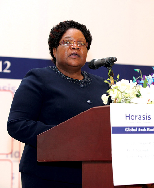 Joice Mujuru speaks 9 December 2012 at the Horasis Global Arab Business Meeting in Ras Al Khaimah, United Arab Emirates.