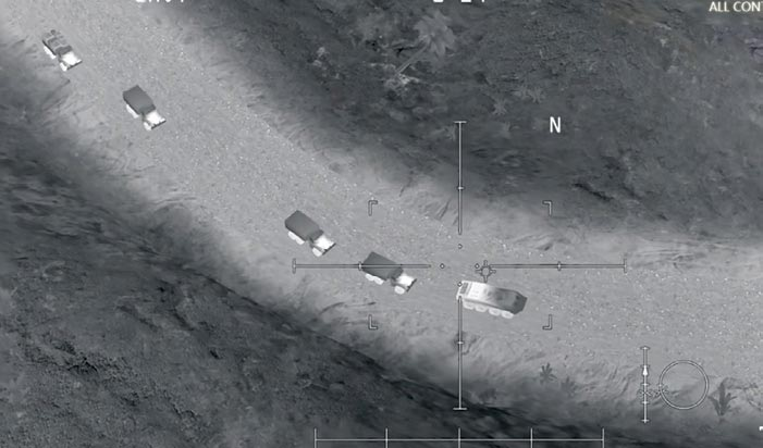 On Twitter and Facebook posts dated 14 November 2017, the Russian Defence Ministry tried to pass off a still image (<em>above</em>) taken from the mobile phone military simulation game AC-130 Gunship Simulator