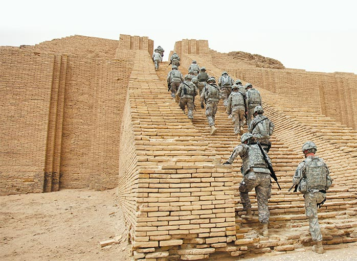 Soldiers from 17th Fires Brigade make their way up the Ziggurat of Ur 18 May 2010 near Contingency Operating Base Adder, Basra, Iraq.