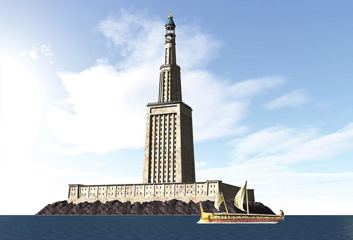 A 2013 detailed reconstruction of the Pharos of Alexandria lighthouse based on a 2006 extensive study of the building.
