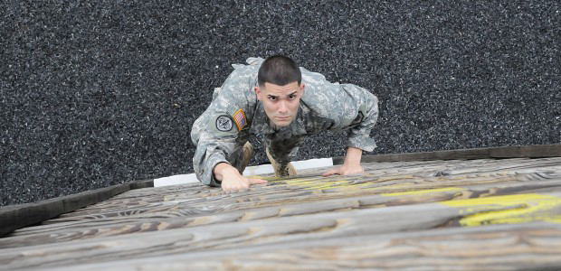 Hero image of soldier climbing wall