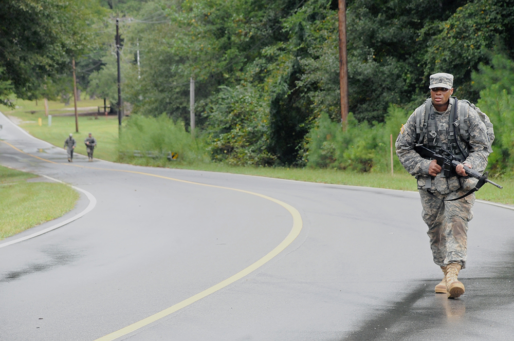 Smith takes part in the ruck march Monday as he competes to be AIT Platoon Sergeant of the Year.