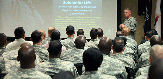 Instructor and students photo as hero image for Soldier for Life-Transition