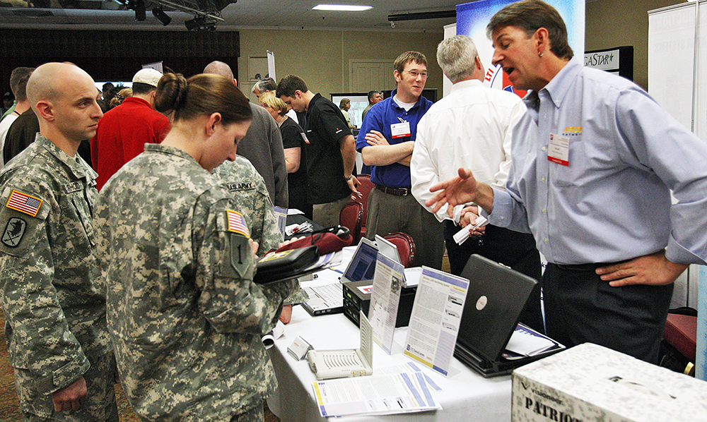 The Soldier For Life–Transition Assistance Program aims to help Soldiers develop career skills for the civilian world as they transition out of the military. Soldiers (above) meet with civilian recruiters at a recent job fair at Fort Huachuca, Ariz. (Photo by Rob Martinez)