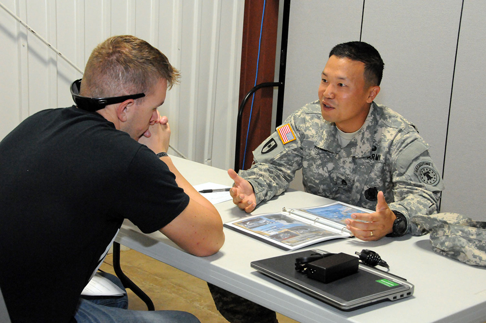Staff Sgt. Yu Rhee, one of the Army's first recipients of the new Master Recruiter Badge, conducts an interview as part of U.S. Army Recruiting Command's first Master Recruiter Badge competition at Fort Knox, Kentucky, in September. The competition began with more than 1,000 recruiters, and seven earned the coveted badge. (Photo courtesy of U.S. Army Recruiting Command)
