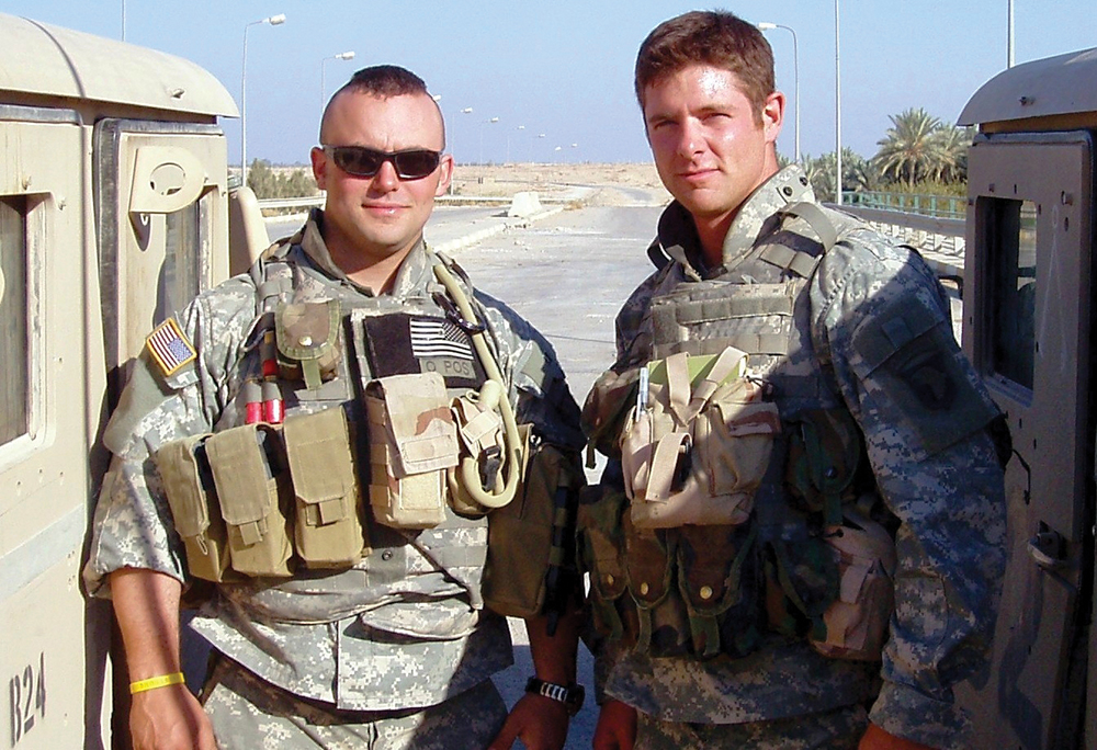 Sgt. Noah Galloway, right, poses for a photograph during his second deployment to Iraq. (Photo courtesy of Noah Galloway)