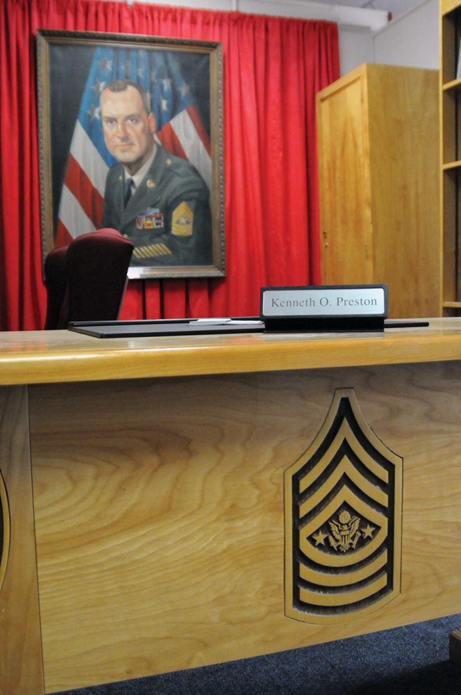 The sergeant major of the Army exhibit includes a portrait of Sgt. Maj. William O. Wooldridge, the first sergeant major of the Army, as well as Sgt. Maj. Kenneth O. Preston's desk, bookcase and locker. The items used by Sgt. Maj. Preston during his seven years as sergeant major of the Army were donated by former Sgt. Maj. of the Army Raymond F. Chandler.