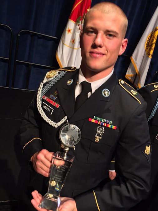 Spc. Jared R. Tansley is the 2015 Soldier of the Year. The 11B infantryman is with 3rd Squadron, 2nd Cavalry Regiment, in Vilseck, Germany.