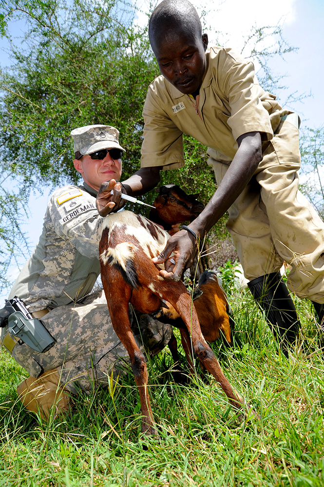 Staff Sgt. Troy Gerdeman, civil affairs specialist, assigned to Combined Joint Task Force–Horn of Africa, 402nd Civil Affairs Team, holds a goat while a community animal health care worker administers a vaccination June 9, 2011, during a veterinary civic action project, or VETCAP, in the rural village of Nabilatuk, Uganda. (U.S. Air Force photo by Master Sgt. Dawn M. Price)