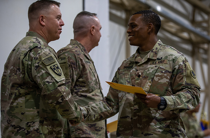 U.S. Army Spc. Kenneth Safford, 184th Sustainment Command (Expeditionary), Mississippi Army National Guard, graduates Camp Buehring