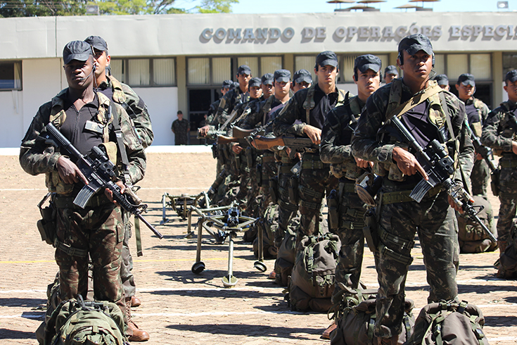 Brazilian army special operators line up to showcase some of their equipment and capabilities