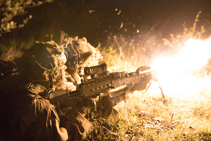 A group of 173rd Airborne Brigade paratroopers fire an M240 Bravo machine gun at enemy forces on the objective during Exercise Immediate Response at Vojarna Josip Jovic Airbase, Udbina, Croatia, May 16, 2019