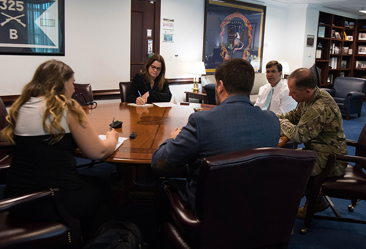 Secretary of the Army Dr. Mark T. Esper hosts a media roundtable to discuss the new U.S. Army Talent Management program