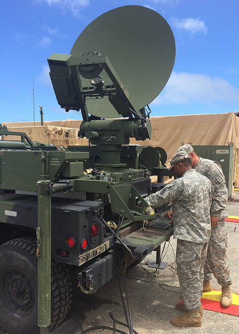 Sgt. Jarius Bruce and Spc. Christopher Quiocho from the 307th Signal Battalion conduct maintenance in March on the Command Post Node. The 307th Sig. Bn. Soldiers provide communications support for the Task Force Talon Terminal High Altitude Area Defense (THAAD) mission on Guam.