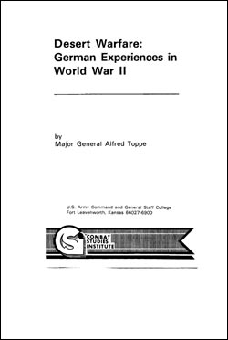 Desert Warfare: German Experiences in World War II