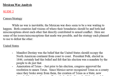 Mexican American War Analysis