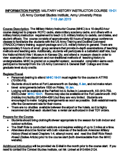Military History Instructor Course Information Paper