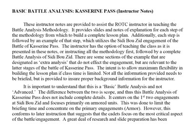 Battle Analysis Instructor Notes