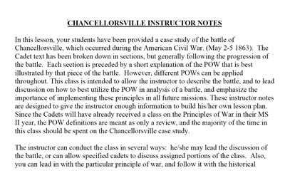 POW Instructor Notes - Chancellorsville