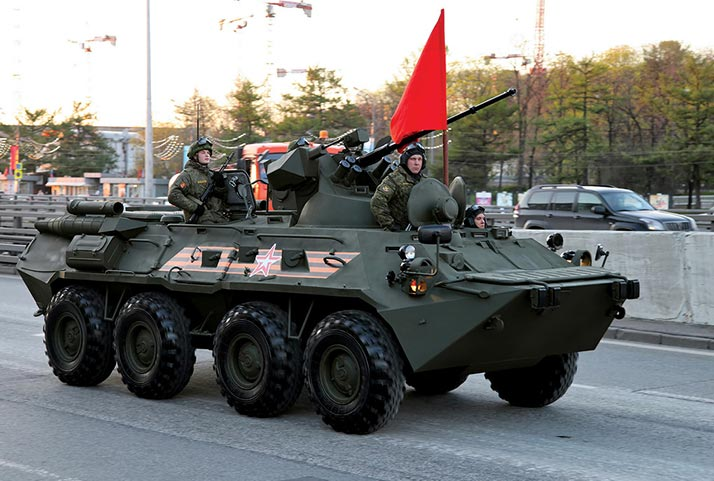 A modernized BTR-82A armored personnel carrier with 30 mm cannon