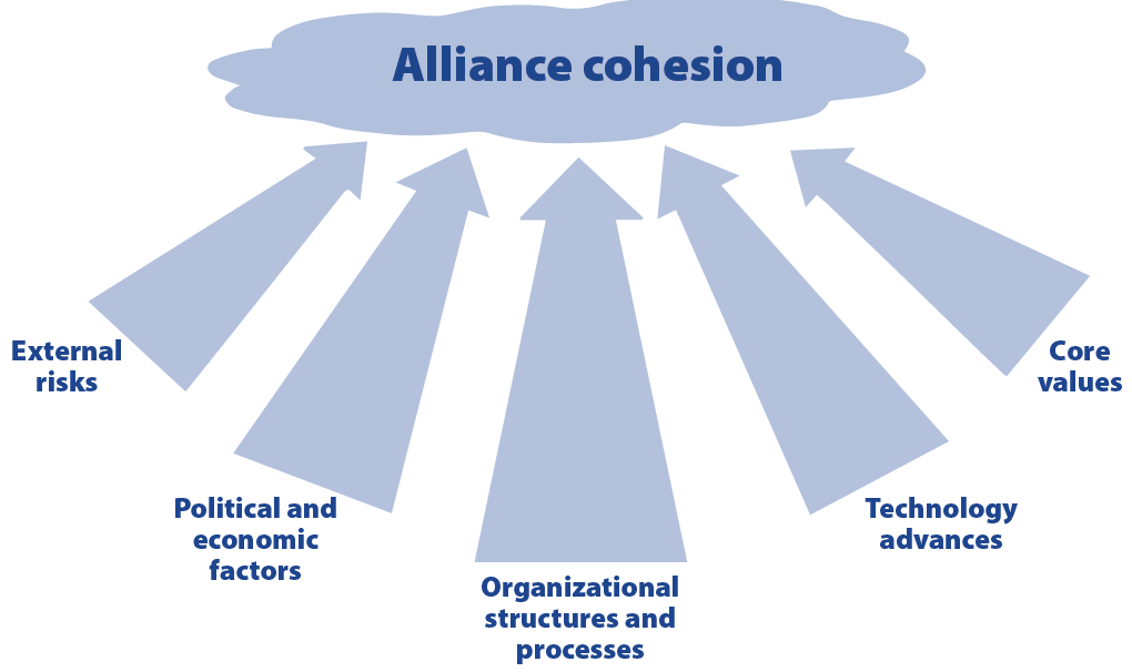 Figure 1. Five Factors Affecting Alliance Cohesion (Graphic by authors)