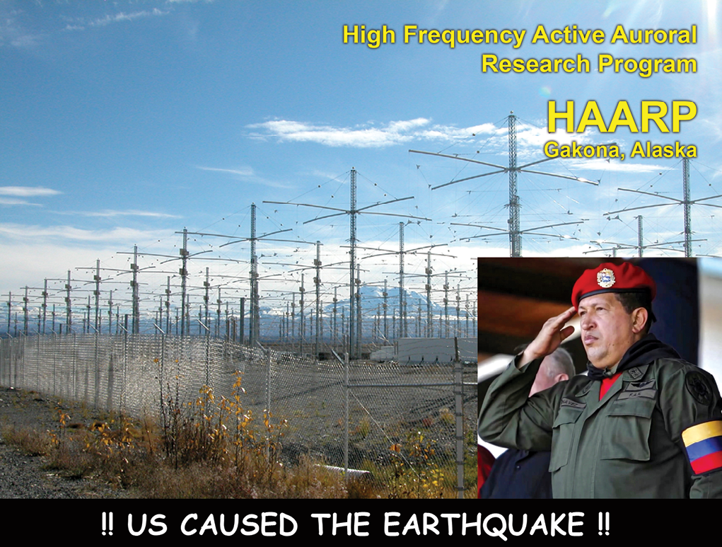 The compilation photo is from a class presentation slide showing how Hugo Chávez blamed the 2010 Haiti earthquake on the U.S. government's unclassified High Frequency Active Auroral Research Program (HAARP).