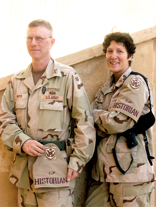 Lt. Col. John Boyd (<em>left</em>), Capt. Lora Neal, and two other historians visited the 42nd Infantry Division troops in north-central Iraq in 2005 to help document the war.