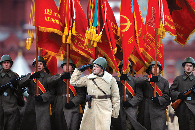 Approximately six thousand Russian soldiers and military cadets, many dressed in Red Army World War II uniforms, march in a parade 7 November 2011 through Red Square in Moscow