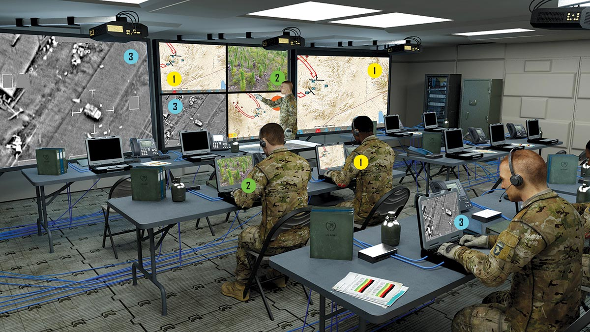 The digital viewer application, or DVA, provides the Army with a software-based video switching solution and allows command post personnel to connect to the local area network to share all or part of their display with other individuals or on the larger command post display system. (Photo simulation courtesy of the U.S. Army)