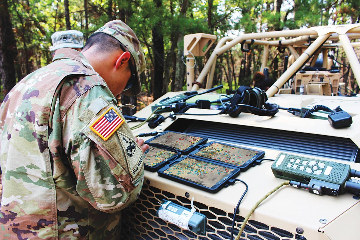 Soldiers configure the tactical computing environment extend mode which pieces together various points on a digital map to create one, large map-view similar to what is available in larger command posts.