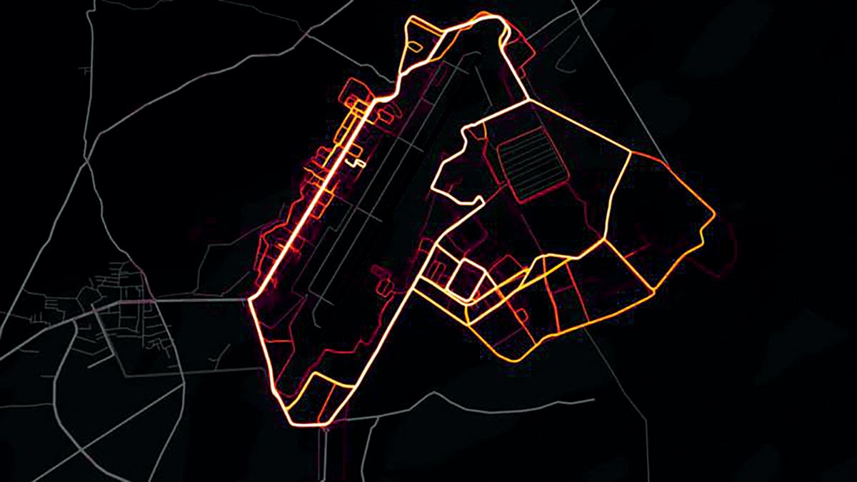 A 2018 heat map showing the movement of soldiers based on location data collected from the Strava fitness application at Bagram Air Base in Afghanistan (Screenshot courtesy of Strava Labs)