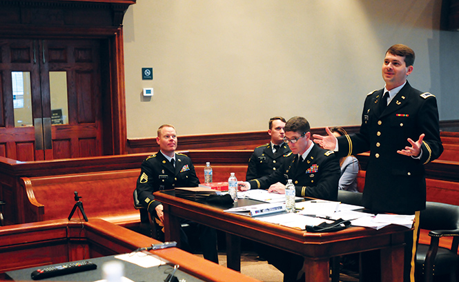 The Trial Defense Service provides counsel for the accused 7 August 2018 during the 167th Theater Sustainment Command's fourth annual mock court-martial at the Calhoun County Courthouse in Anniston, Alabama. (Photo by Staff Sgt. Katherine Dowd, Army National Guard)