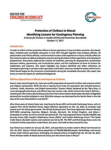 Protection of Civilians in Mosul: Identifying Lessons for Contingency Planning