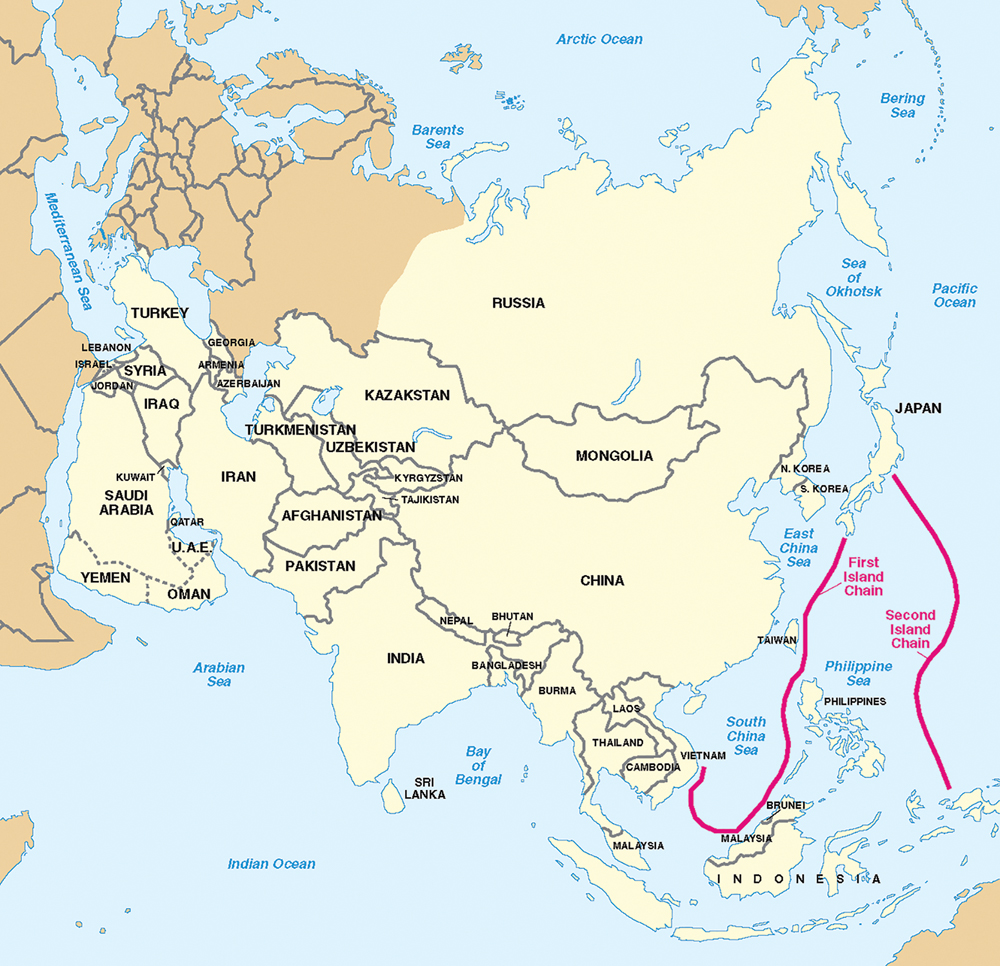 Figura 1. Límites geográficos de la primera y segunda cadena de islas. (Mapa de la Oficina del Secretario de Defensa, Annual Report to Congress: Military Power of the People's Republic of China, 2006; Washington, DC: Department of Defense, 2006; los límites no son oficiales)