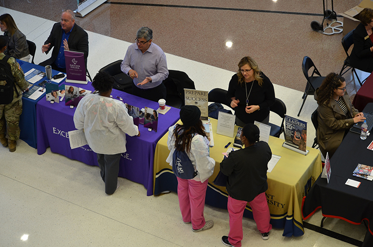Two dozen schools, universities and employment organizations offered information on education and career opportunities in healthcare and healthcare-related fields to more than 300 service members