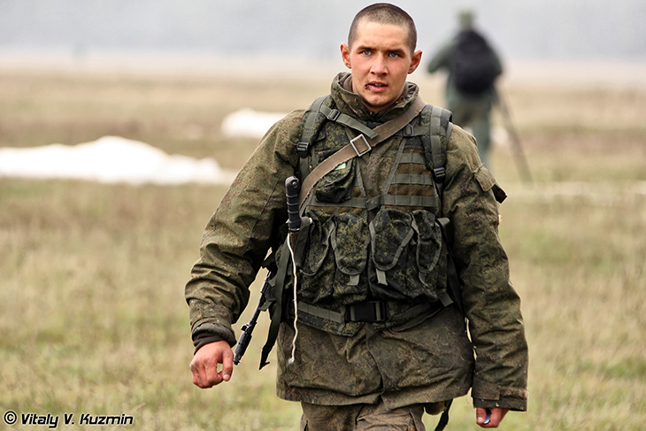 A Russian soldier participates in the 137th Guards Parachute Order of the Red Star Regiment of the 106th Guards Red Banner Order
